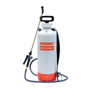 Chemical resistant sprayer for acetone, dye, sealer, densifier, and guard.